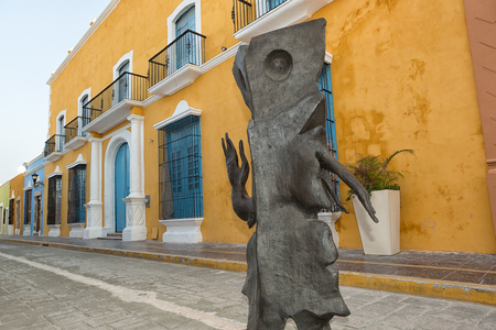 leonora: April 19, 2014 Campeche, Mexico: closeup details of a Leonore Carrington surrealist statue exhibited publicly on the street of the UNESCO world heritage colonial town Editorial