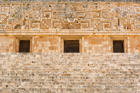 architectural details of the govermnors palace at Uxmal archaeological site in Yucatan Mexico Stok Fotoğraf
