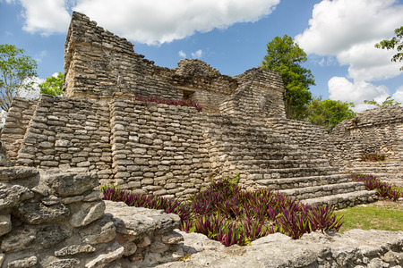 ancient Maya temple at the Kinichna archeological site in Quintana Roo Mexico