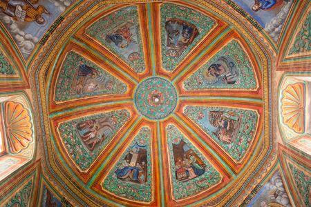 April3, 2014 Teotitlan de Valle, Mexico:  painted ceiling of the  Preciosa Sangre de Cristo Church of the artisan town