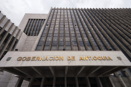 governement: September 29, 2017 Medellin, Colombia: the Antioquia department governement building in the Alpujarra square