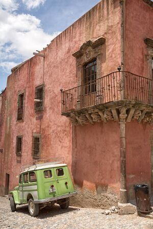 May 22, 2014 Real de Catorce, Mexico: vintage all-terrain vehicles are used for tourist tours around the mostly abandoned silver mining town