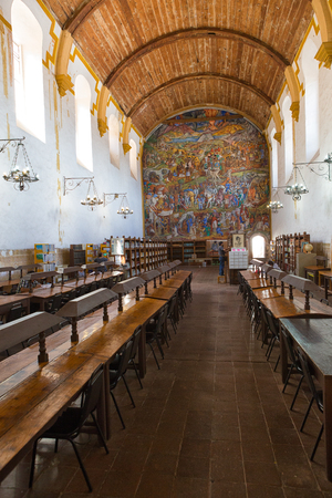 March 25, 2014 Patzcuaro, Mexico: the Gertrudis Bocanega Library in historic center is housed in a former church building featuring a fresco depicting local history Editorial