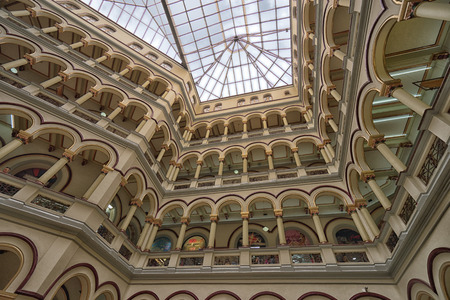 October 5, 2017 Medellin, Colombia: the building of ex-presidential palace was turned into a shopping mall called centro commercial El Palacio Nacional Editorial