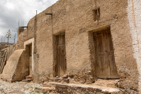 May 22, 2014 Real de Catorce, Mexico: narrow cobblestone streets and mostly abandoned stone buildings all through the town once known for silver mining