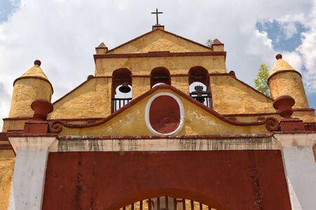 colonial church facade in San Cristobal de las Casas Mexico Editorial