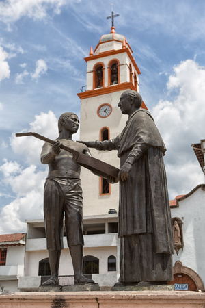 March 21, 2014 Paracho, Mexico: statue in the main square depicting the main trade of the town, lutherie