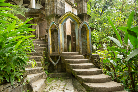 May 18, 2014 Xilitla, Mexico: Las Pozas also known as Edward James Gardens as well, with concrete structures blending in to vegetation in the most Northern jungle of the country nowadays a tourist destination 에디토리얼