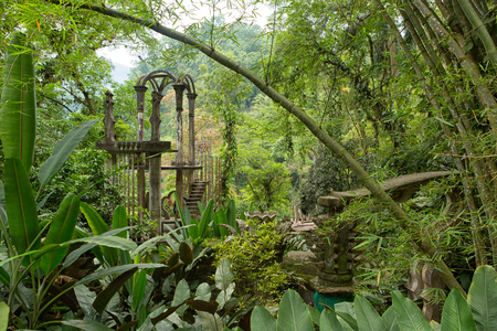 May 18, 2014 Xilitla, Mexico: Las Pozas also known as Edward James Gardens as well, with concrete structures in the most Northern jungle of the country nowadays a tourist destination