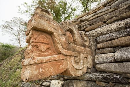 mayan carved statue at Tonina ruins in Mexico