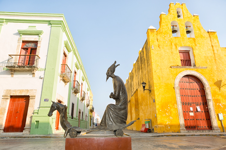 leonora: April 19, 204 Campeche, Mexico: Leonora Carrington statues exhibited on the streets of the UNESCO world Heritage site colonial town