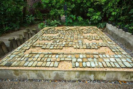 Villahermosa 멕시코의 라 벤타 고고학 공원에서 pre-hispanic olmec 돌 모자이크 스톡 콘텐츠 - 87618537