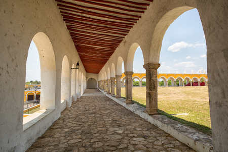 April 24, 2014 Izamal, Mexico: arches t the convent of Izamal which has the second largest atrium of the world, only surpassed by the one in St. Peter's Square in the Vatican