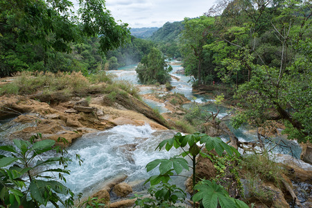 April 16, 2014 Tumbala, Mexico: the Agua Azul waterfall  consists of many cataracts following one after another and is one of the main attractions of the state of Chapas