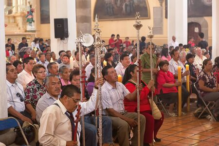 March 31, 2014 Cholula, Mexico: people attending mass in the San Gabriel monastery Editorial