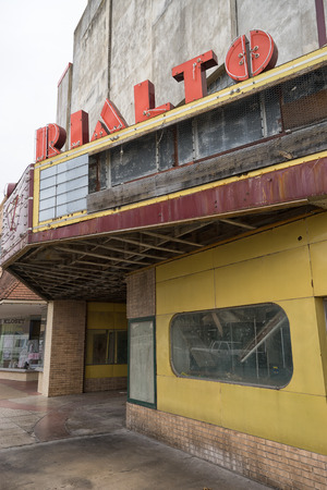 January 11, 2016 Alice, Texas, USA: the abandoned buildingof the Rialto theater in the  town center