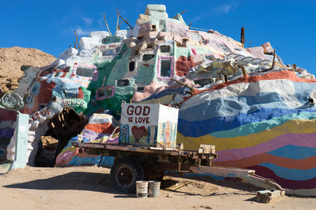 gallons: November 17, 2015 Niland, California, USA: Salvation Mountain is a colorful artificial mountain near Slab City. It is made from adobe, straw, and thousands of gallons of paint.