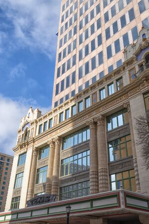 January 8, 2016 San Antonio: historic and modern building combination in the downtown area