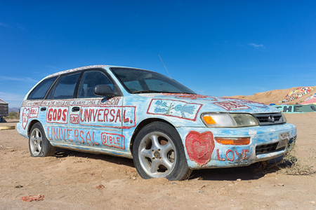 November 17, 2015 Niland, California, USA: vehicle painted with religious messages at Salvation Mountain