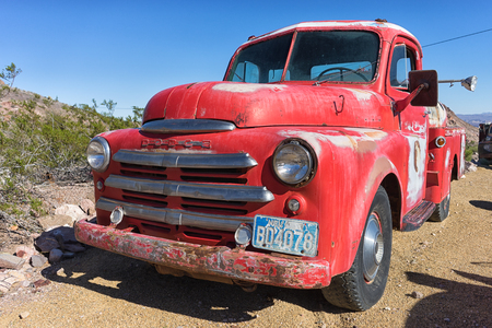 November 9, 2015 Nelson, Nevada, USA: a vintage bright color truck in the mining ghost town
