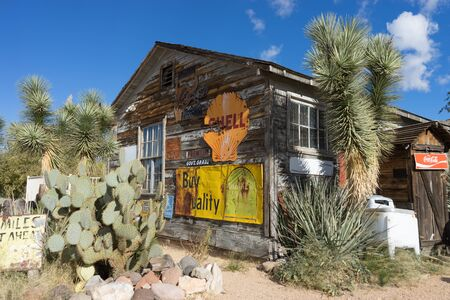 November 190, 2015 HACKBERRY, ARIZONA, USA: Old storage sheld at Hackberry General Store on Route 66 a popular tourist destination Editorial