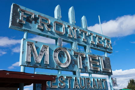 November 10, 2015 Truxton, Arizona, USA: abandoned Frontier Motel, Cafe and vintage neon sign on historic Route 66 in Mohave County, Arizona