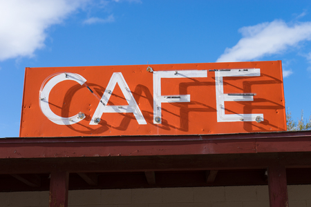 Vintage cafe sign along route 66 in Arizona USA Stock Photo