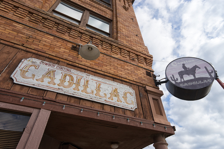 December 25, 2015  Fort Worth, Texas, USA: the Caillac Cantina restaurant store front in a historic centennial building at the Stockyards