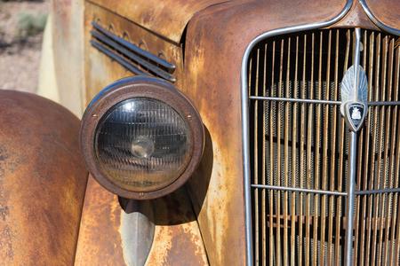 closeup details of a vintage car front end