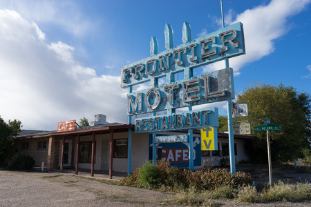 sign of an abandoned motel along route sixty six in arizona usa