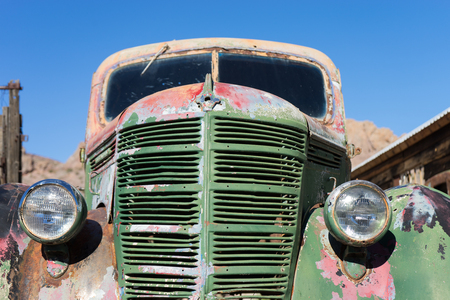 vintage abandoned car closeup