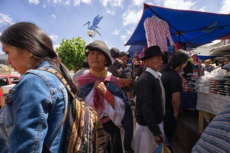 Otavalo, Ecuador-December 23, 2017: people in the Saturday market of the indigenous town Sajtókép