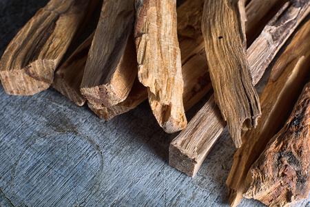 palo santo wood sticks closeup in Ecuador Banco de Imagens - 97661218
