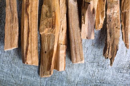 palo santo wood closeup in Ecuador on rustic background Imagens