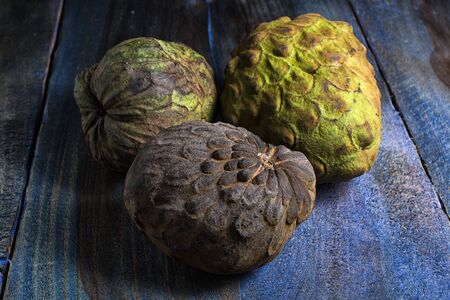 cherimoya fruits also knon as custard apple on rustic background Stock fotó