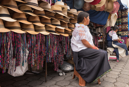 Otavalo, Ecuador-March 31,2018: indigenous vendors in the Saturday artisan markert Stock fotó - 98651219