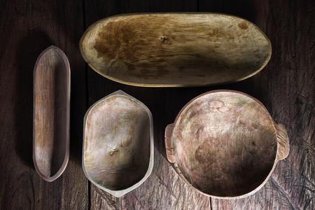 Set of handmade rustic wood bowls in Ecuador