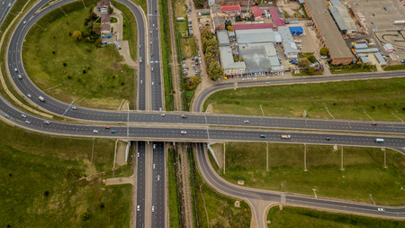 Aerial view city, highway, the intersection, drone shot.