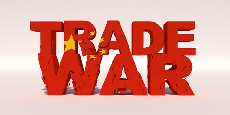 Trade war concept. China Flag On Cracked Concrete text. 3D illustration. Stock Photo