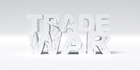 Trade war concept. White Cracked Concrete text. 3D illustration.