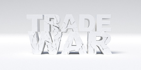 Trade war concept. White Cracked Concrete text. 3D illustration.