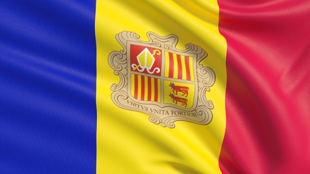 Flag of Andorra. Waved highly detailed fabric texture.