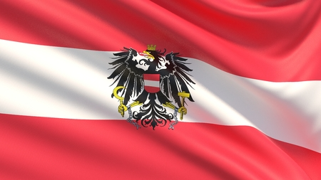 Flag of Austria. Waved highly detailed fabric texture.