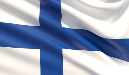 Flag of Finland. Waved highly detailed fabric texture.