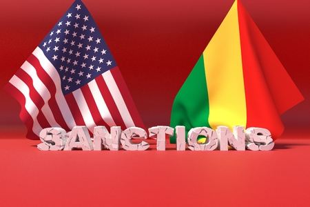Western american sanctions against Congo. 3D illustration.