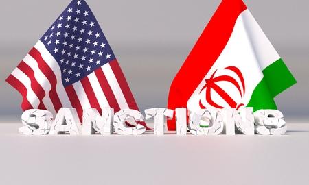 Western american sanctions against Iran. 3D illustration.