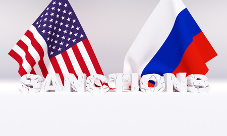 Western american sanctions against . 3D illustration. 스톡 콘텐츠