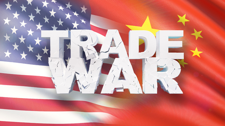 Trade war concept. Cracked text on flag of America and China. 3D illustration.