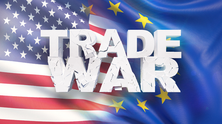 Trade war concept. Cracked text on flag of USA and EU. 3D illustration.