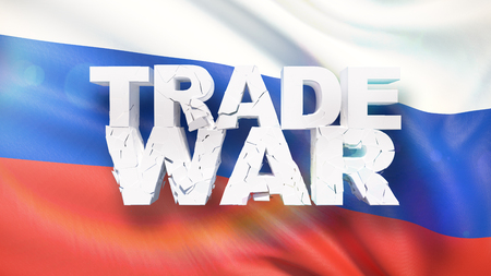 Trade war concept. Cracked text on flag of Russia. 3D illustration.